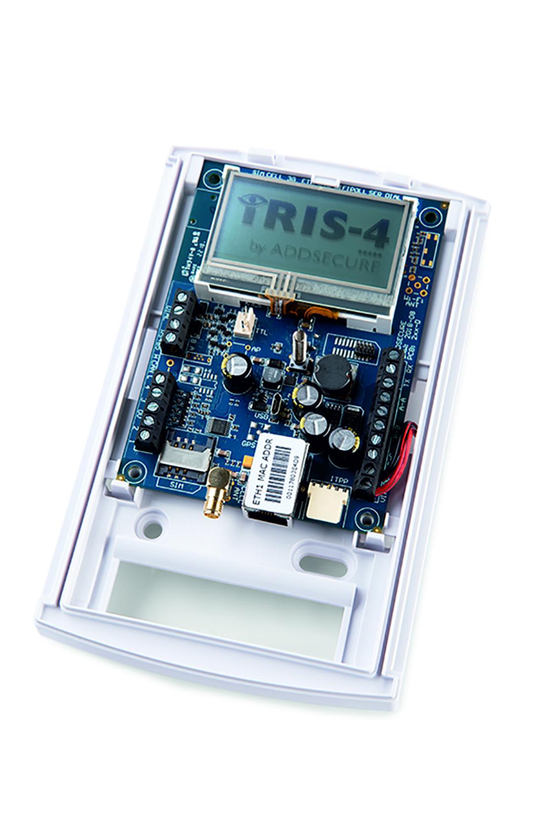 IRIS-4 240, ADDSECURE, Transmetteurs, Transmetteurs d'alarmes, Transmission, Intrusion, Entrée d'alarme : 4, Protocole de transmission : Contact ID, Robofon, Scancom Fast Format, SIA I, SIA II, SIA III, Sorties relais : 3, Réseau mobile : Penta band LTE (4G) 800/900/1800 MHz 2100/2600 MHz Dual band UMTS (3G) 900/2100 MHz Dual band GSM (2, IP Ethernet : RJ45 - Min. Cat 5 - 10/100 Base T,