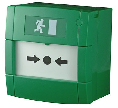 MCP3A-G000SG-K013-13, KAC, Trigger buttons, Emergency exit, Conventional Systems, Access Control, Fire, Contact : Single Pole contact, Weather Proof IP Rating : 24D, Mounting : Surface, Colour : Green, Pictogram : Emergency escape,