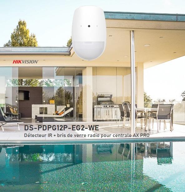 IR radio avec détecteur bris de verre intégré pour centrale Hikvision AX Pro