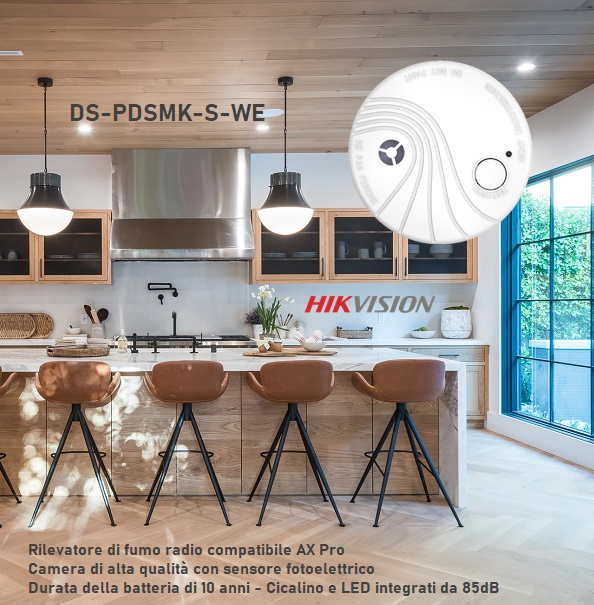 Hikvision AX Pro rilevatore di fumo senza fili DS-PDSMK-S-WE